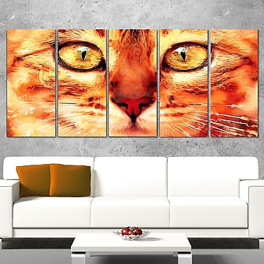 Feline Stare Animal Metal Wall Art, 60x28, 5 Panels, (MT2334-401)
