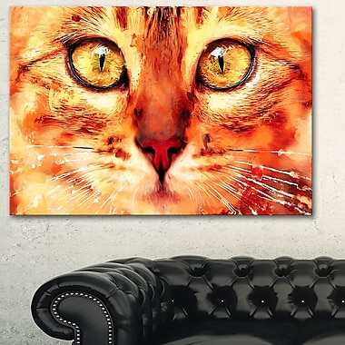 Feline Stare Animal Metal Wall Art, 28x12, (MT2334-28-12)