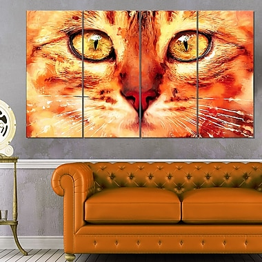 Feline Stare Animal Metal Wall Art, 48x28, 4 Panels, (MT2334-271)
