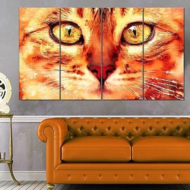 Regard félin art mural animal en métal, 48 x 28, 4 panneaux (MT2334-271)