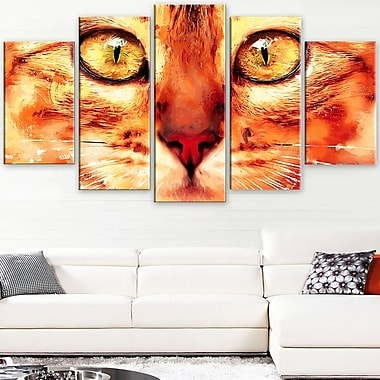 Feline Stare Animal Metal Wall Art, 60x32, 5 Panels, (MT2334-373)