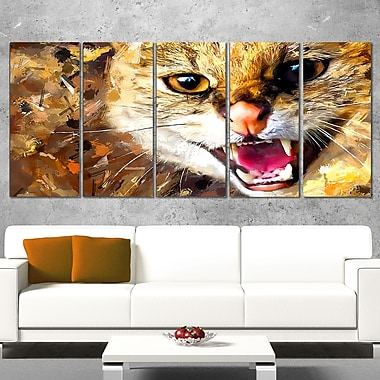 Hissing Cat Animal Metal Wall Art, 60x28, 5 Panels, (MT2335-401)