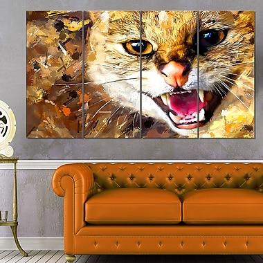 Hissing Cat Animal Metal Wall Art, 48x28, 4 Panels, (MT2335-271)