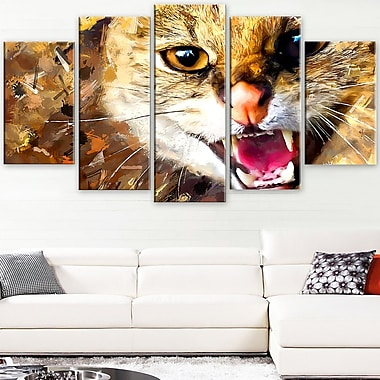 Hissing Cat Animal Metal Wall Art, 60x32, 5 Panels, (MT2335-373)