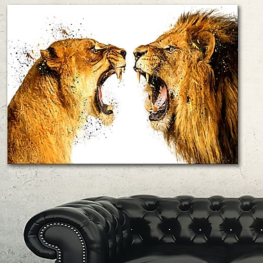 Lion Argument Animal Metal Wall Art, 28x12, (MT2336-28-12)