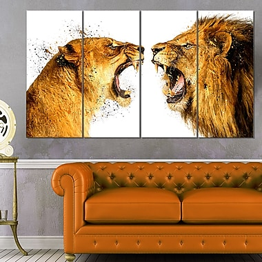 Lion Argument Animal Metal Wall Art, 48x28, 4 Panels, (MT2336-271)
