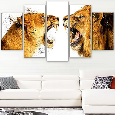 Lion Argument Animal Metal Wall Art, 60x32, 5 Panels, (MT2336-373)
