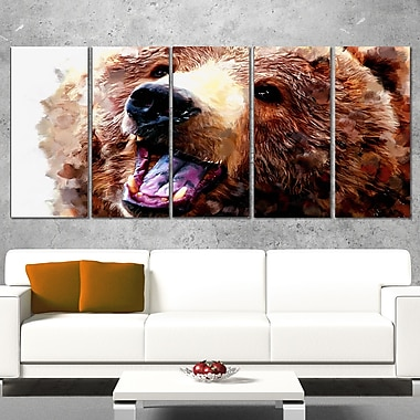 Happy Brown Bear Animal Metal Wall Art, 60x28, 5 Panels, (MT2338-401)
