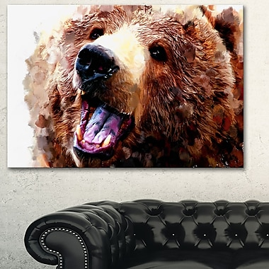 Happy Brown Bear Animal Metal Wall Art, 28x12, (MT2338-28-12)