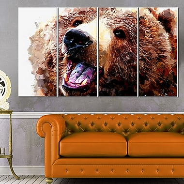 Happy Brown Bear Animal Metal Wall Art, 48x28, 4 Panels, (MT2338-271)