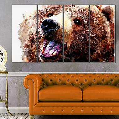 Ours brun heureux art mural animal en métal, 48 x 28, 4 panneaux (MT2338-271)