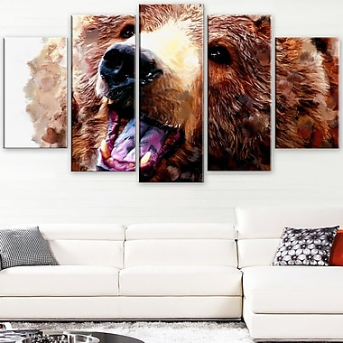 Happy Brown Bear Animal Metal Wall Art, 60x32, 5 Panels, (MT2338-373)