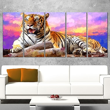 King of Tigers Animal Metal Wall Art, 60x28, 5 Panels, (MT2339-401)