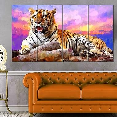 Roi des tigres art mural animal en métal, 48 x 28, 4 panneaux (MT2339-271)