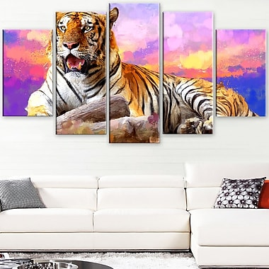 King of Tigers Animal Metal Wall Art, 60x32, 5 Panels, (MT2339-373)