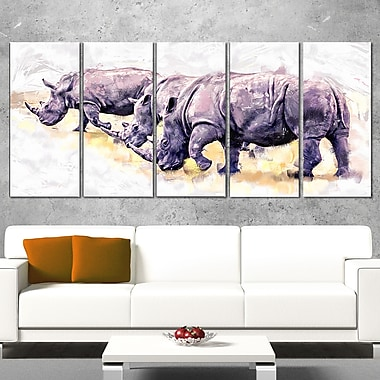 Walking Rhinos Animal Metal Wall Art, 60x28, 5 Panels, (MT2340-401)