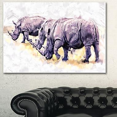 Rhinos qui marchent art mural animal en métal, 28 x 12 (MT2340-28-12)
