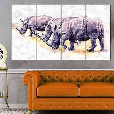 Walking Rhinos Animal Metal Wall Art, 48x28, 4 Panels, (MT2340-271)