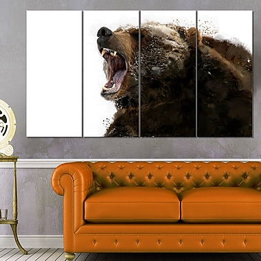 Beware of the Bear Animal Metal Wall Art, 48x28, 4 Panels, (MT2341-271)