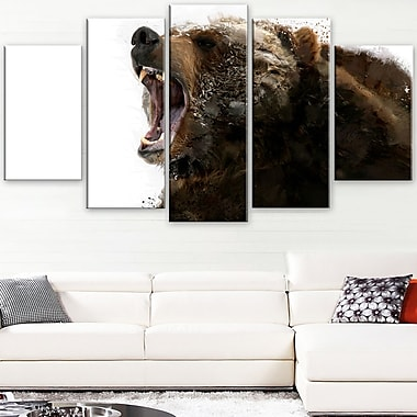 Beware of the Bear Animal Metal Wall Art, 60x32, 5 Panels, (MT2341-373)