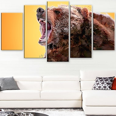 Beware of the Bear Animal Metal Wall Art, 60x32, 5 Panels, (MT2342-373)