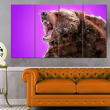 Beware of the Bear Animal, art mural en métal, 48 x 28, 4 panneaux (MT2343-271)