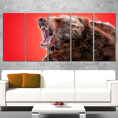 Beware of the Bear Animal Metal Wall Art, 60x28, 5 Panels, (MT2344-401)