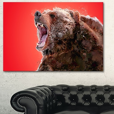 Beware of the Bear Animal Metal Wall Art, 28x12, (MT2344-28-12)