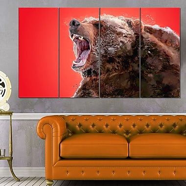 Beware of the Bear Animal Metal Wall Art, 48x28, 4 Panels, (MT2344-271)