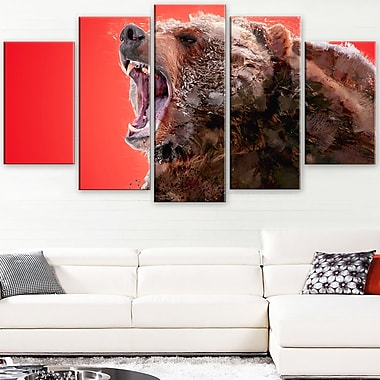 Beware of the Bear Animal Metal Wall Art, 60x32, 5 Panels, (MT2344-373)