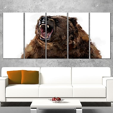 Fierce Grizzly Animal, art mural en métal, 60 x 28, 5 panneaux (MT2345-401)