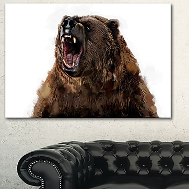 Fierce Grizzly Animal Metal Wall Art, 28x12, (MT2345-28-12)
