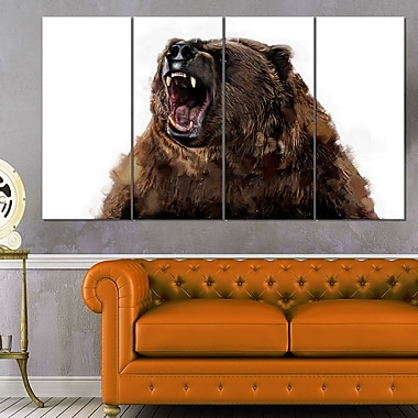 Fierce Grizzly Animal Metal Wall Art, 48x28, 4 Panels, (MT2345-271)