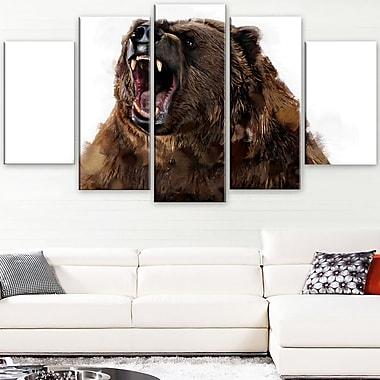 Fierce Grizzly Animal Metal Wall Art, 60x32, 5 Panels, (MT2345-373)