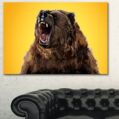 Fierce Grizzly Animal Metal Wall Art, 28x12, (MT2346-28-12)