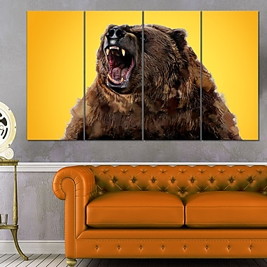 Fierce Grizzly Animal Metal Wall Art, 48x28, 4 Panels, (MT2346-271)