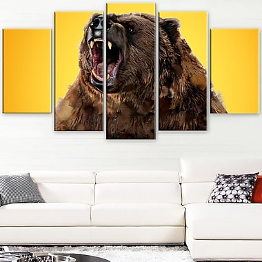 Fierce Grizzly Animal Metal Wall Art, 60x32, 5 Panels, (MT2346-373)