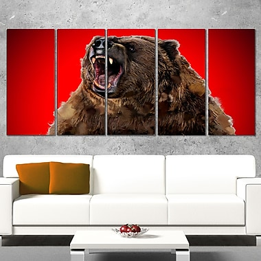 Fierce Grizzly Animal Metal Wall Art, 60x28, 5 Panels, (MT2347-401)