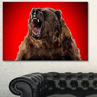 Art mural en métal d'animal, grizzli féroce, 28 x 12 po, (MT2347-28-12)
