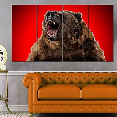 Fierce Grizzly Animal Metal Wall Art, 48x28, 4 Panels, (MT2347-271)