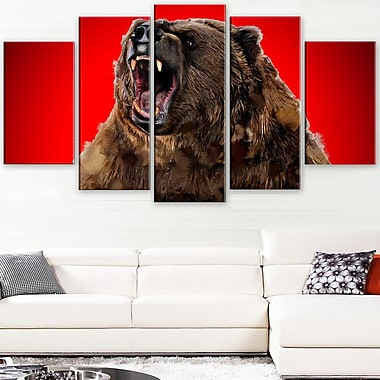 Fierce Grizzly Animal Metal Wall Art, 60x32, 5 Panels, (MT2347-373)