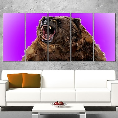 Fierce Grizzly Animal Metal Wall Art, 60x28, 5 Panels, (MT2348-401)