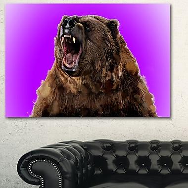 Art mural en métal d'animal, grizzli féroce, 28 x 12 po, (MT2348-28-12)