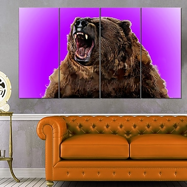 Art mural en métal d'animal, grizzli féroce, 48 x 28 po, 4 panneaux, (MT2348-271)