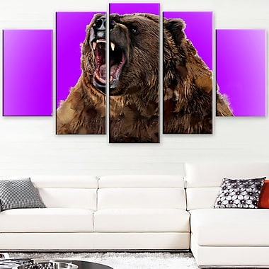 Fierce Grizzly Animal Metal Wall Art, 60x32, 5 Panels, (MT2348-373)