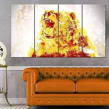 Art mural en métal d'animal, ours chatoyant, 48 x 28 po, 4 panneaux, (MT2349-271)