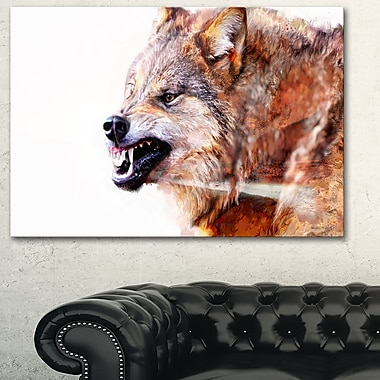 Snarling Wolf Animal Metal Wall Art, 28x12, (MT2350-28-12)