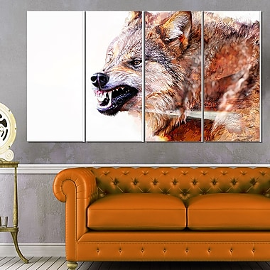 Snarling Wolf Animal Metal Wall Art, 48x28, 4 Panels, (MT2350-271)