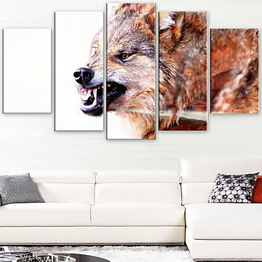 Snarling Wolf Animal Metal Wall Art, 60x32, 5 Panels, (MT2350-373)