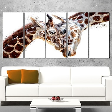 Loving Giraffes Animal Metal Wall Art, 60x28, 5 Panels, (MT2351-401)